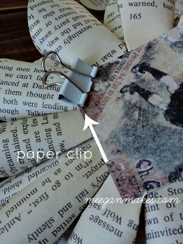 Book Page Flower Paper Clip Holder