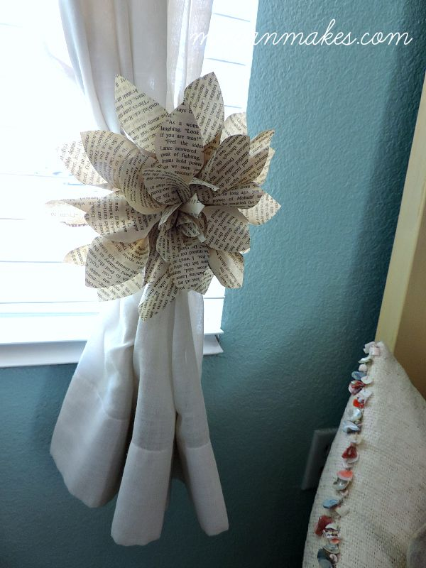 Book Page Flower as A Curtain Tie