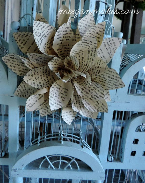 Book Page Flower on a Vintage Bird Cage