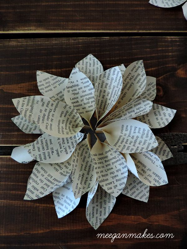Second Layer of Smaller Petals on Book Page Flower