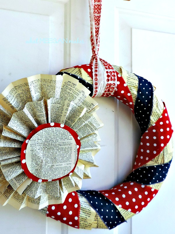 4th of July Book Page Wreath