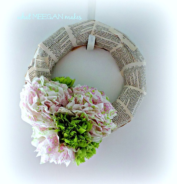Book Page and Tissue Paper Wreath