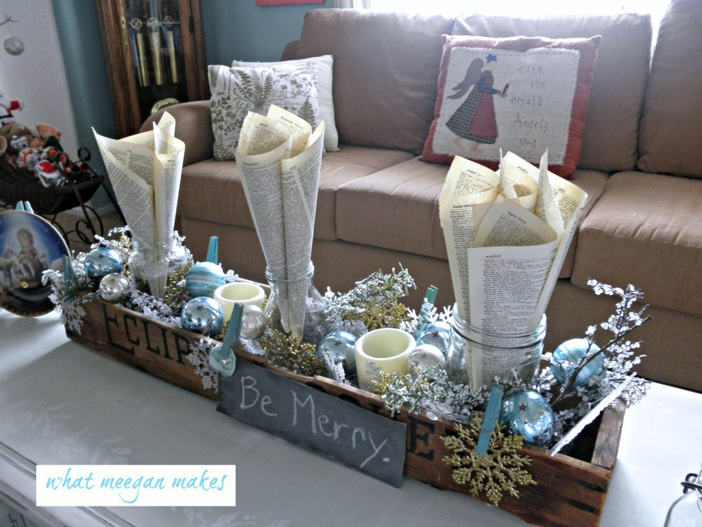 Silver and white christmas table decorations - My
