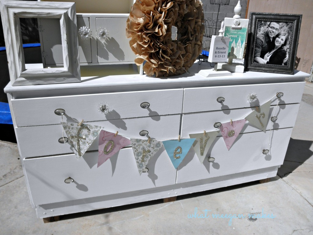 Dumpster Dive Dresser Turned Wedding Shower Beauty