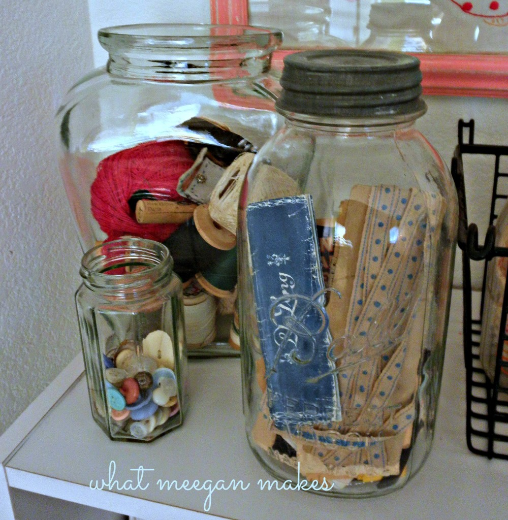 Vintage Lace Ribbon and Thread in Milk bottles and Vintage jars
