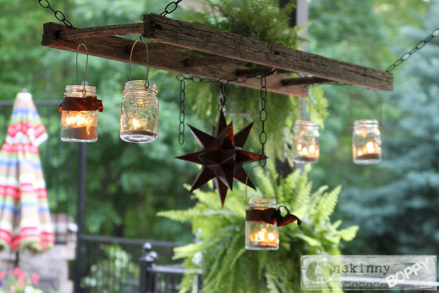 ffladder with mason jars and star lantern