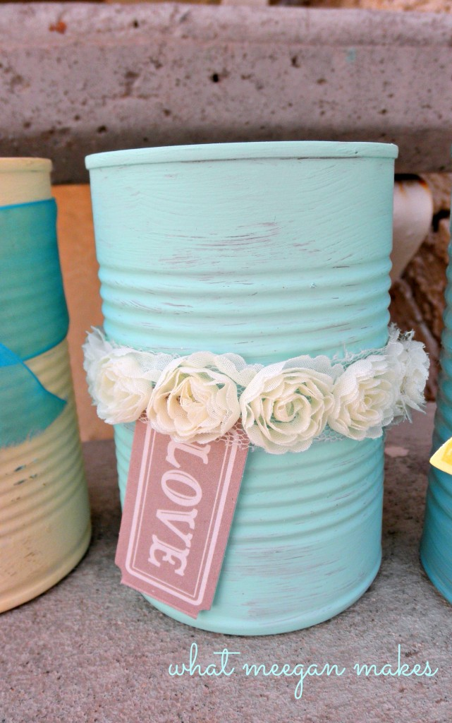 Using Scrapbook Supplies to Decorate Can Vases