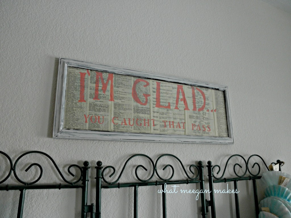 Stenciled & Framed Book Page Quote