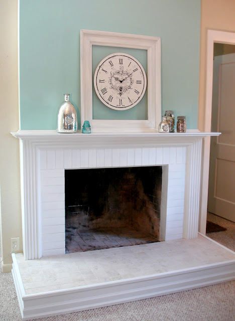 fireplace makeover aqua white neutral