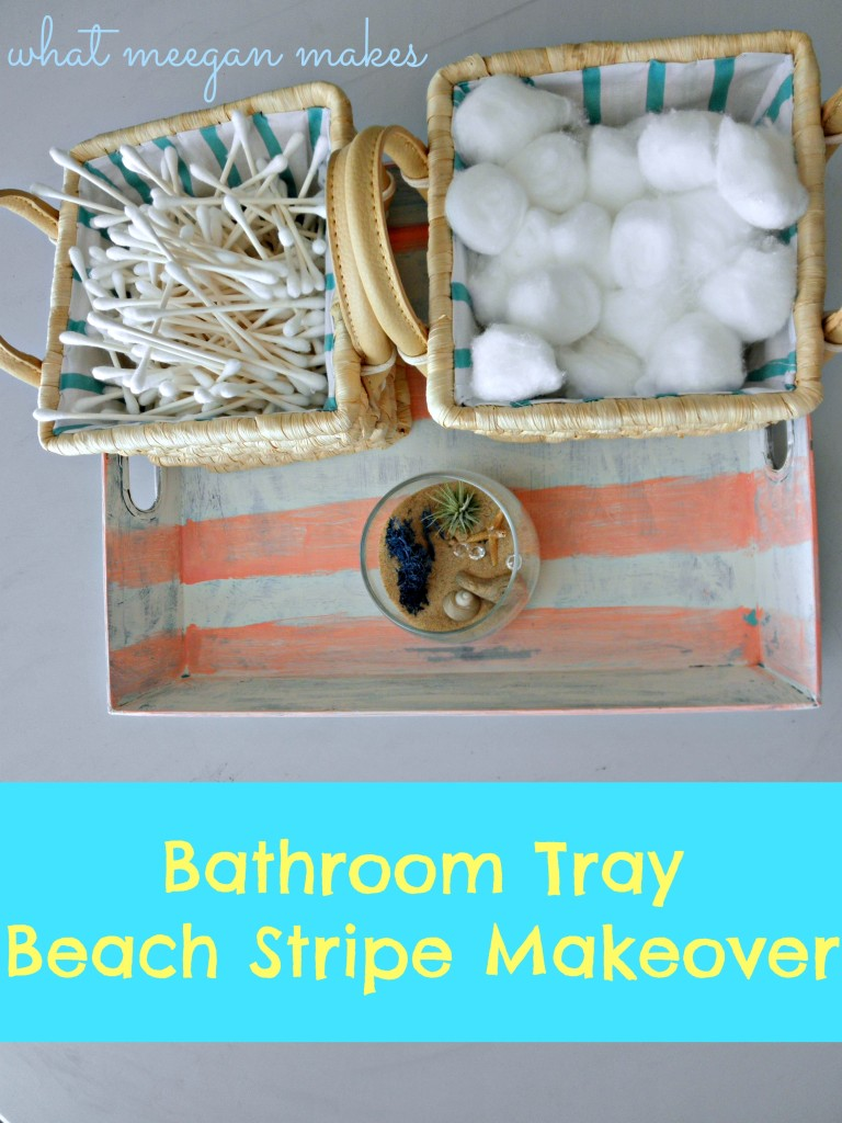 Bathroom Tray Beach Stripe Makeover