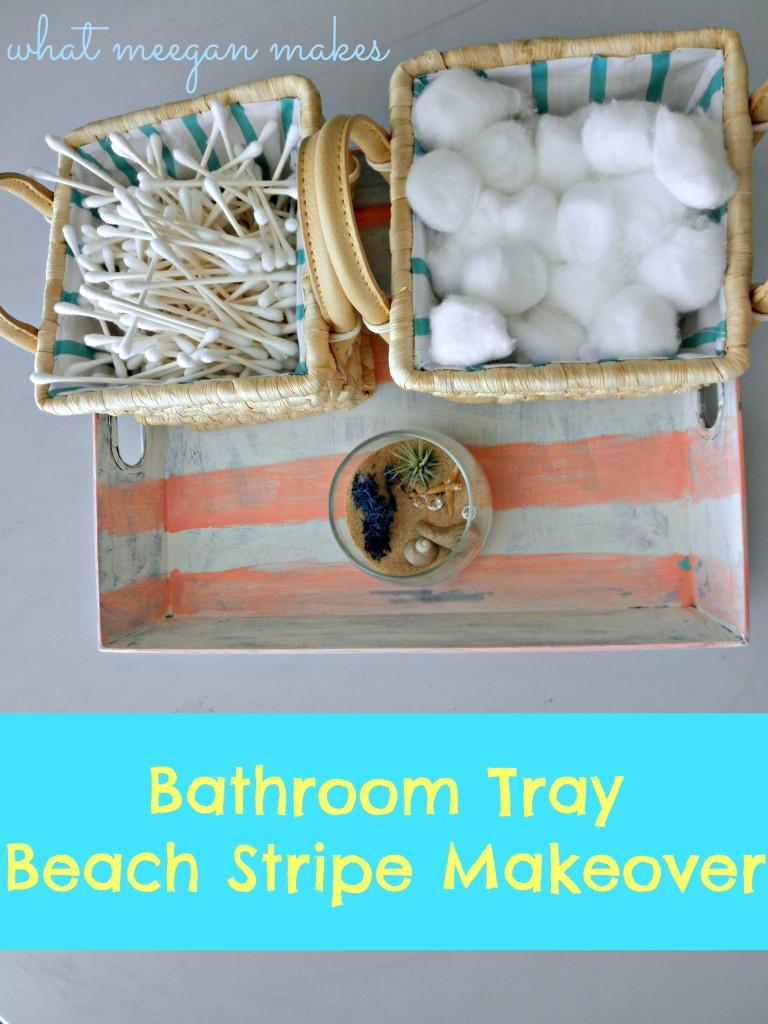 Bathroom Tray Beach Stripe Makeover