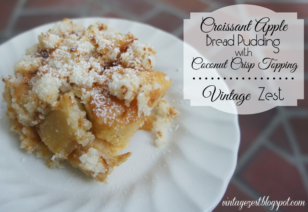 Croissant Apple Bread Pudding with Coconut Crisp Topping