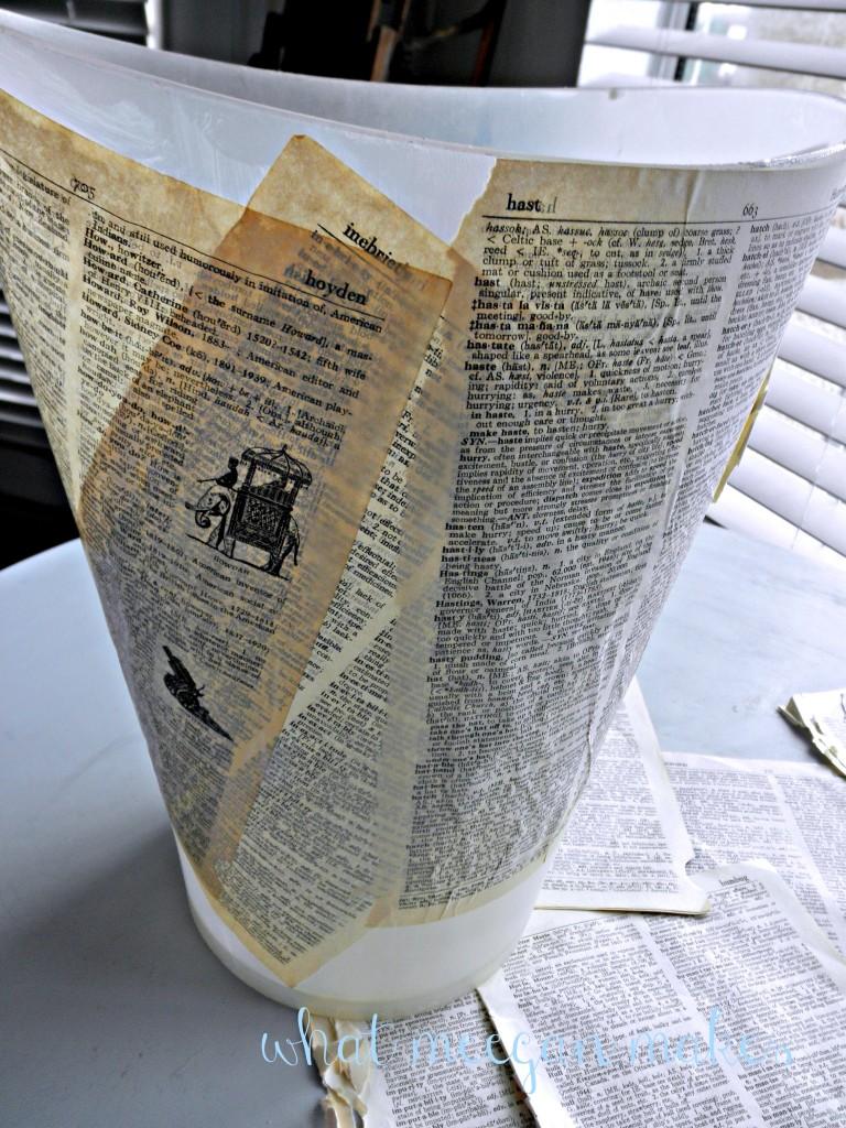 DIY Book Page Waste Basket