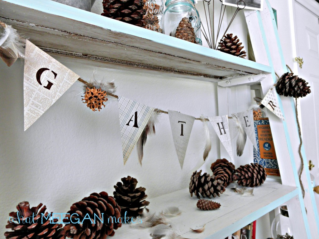 DIY Pine Cone and Feather Banner