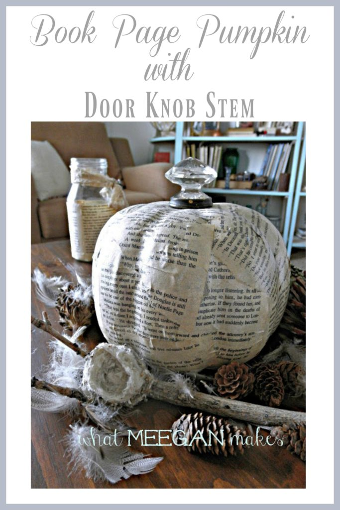 vintage-book-page-pumpkin-with-a-door-knob-stem