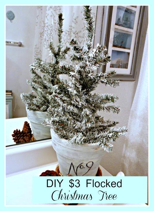 DIY $3 Flocked Christmas Tree