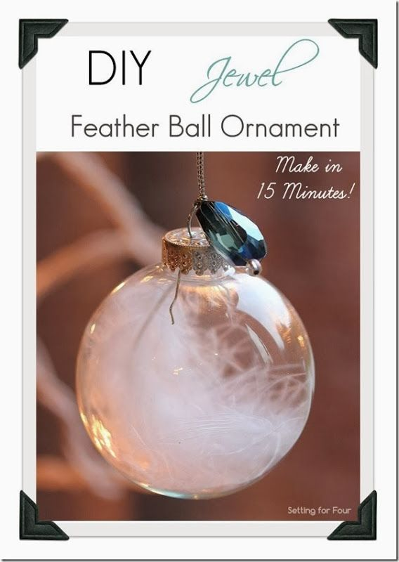 15 Minute DIY Jewel and Feather Ornament