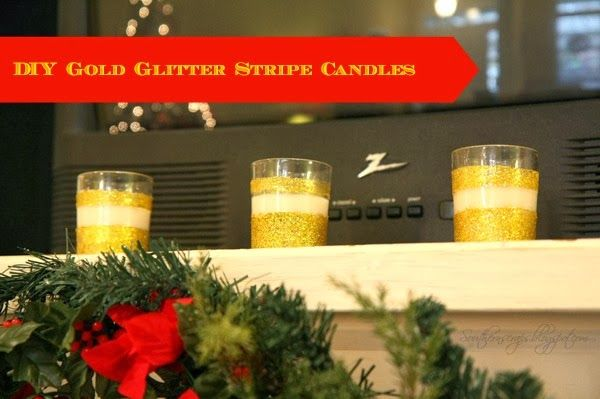 DIY Gold Glitter Stripe Candles