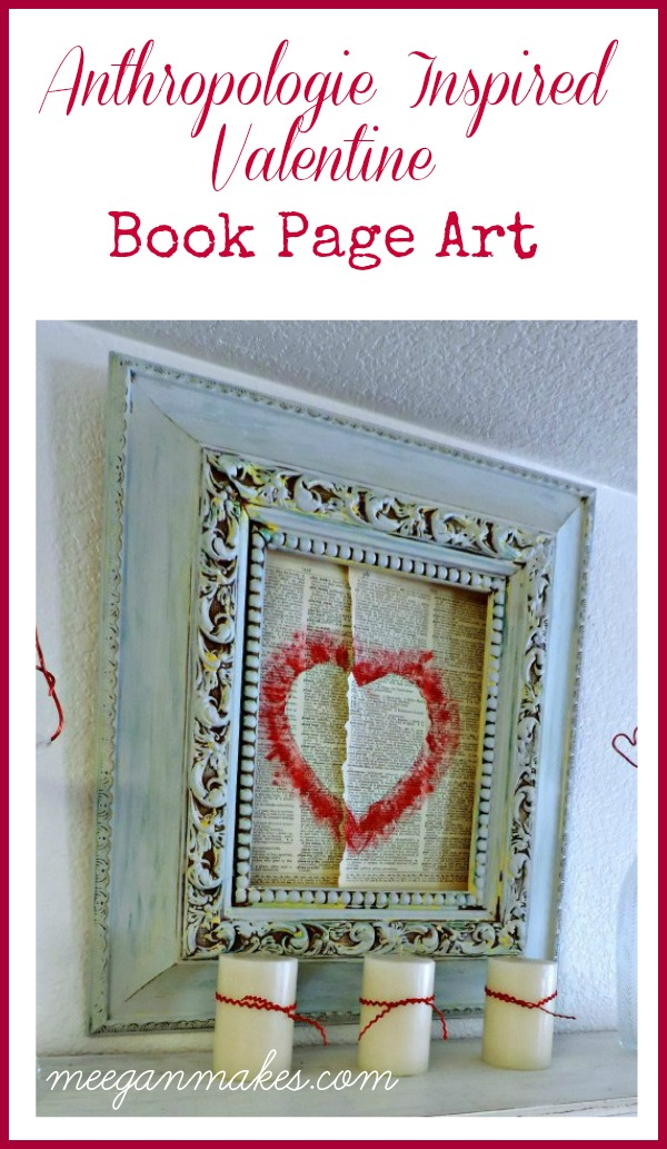Anthropologie Inspired Valentine Book Page Art