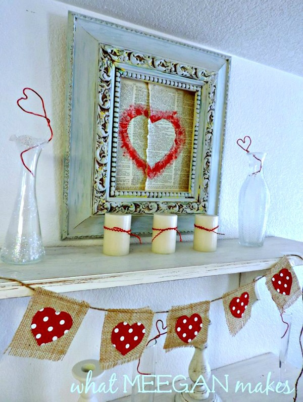 Valentine Book Page Art and Bunting