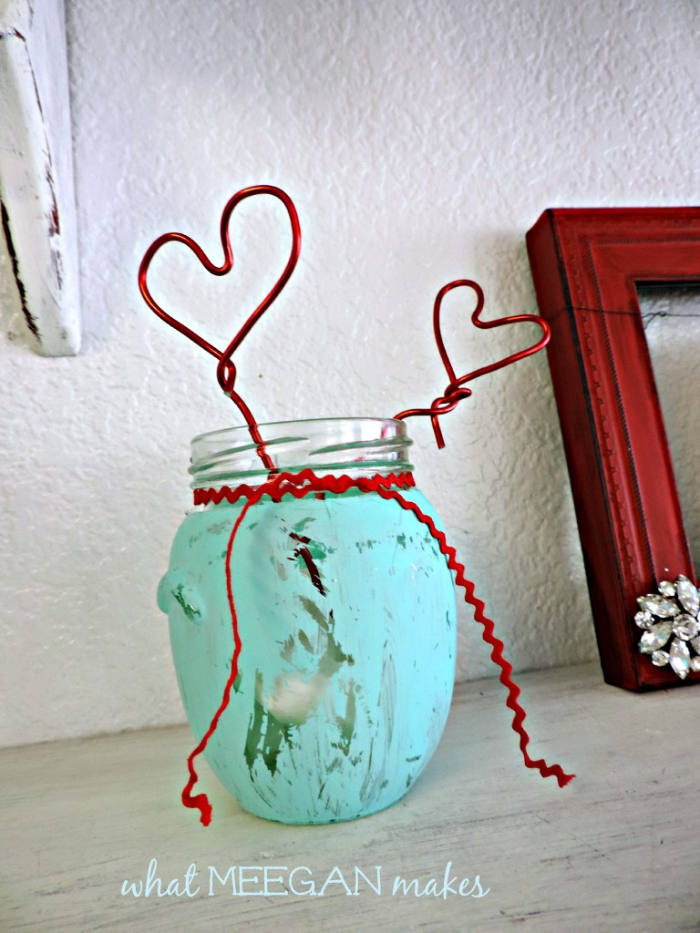 Vintage jar and wire hearts