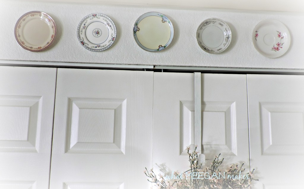 Thrifted Plates Hung with Hot Glue