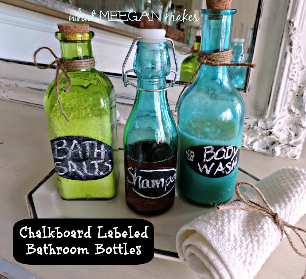 Fit Crafty Stylish And Happy Guest Bathroom Makeover: DIY Chalkboard Labeled Bathroom Bottles
