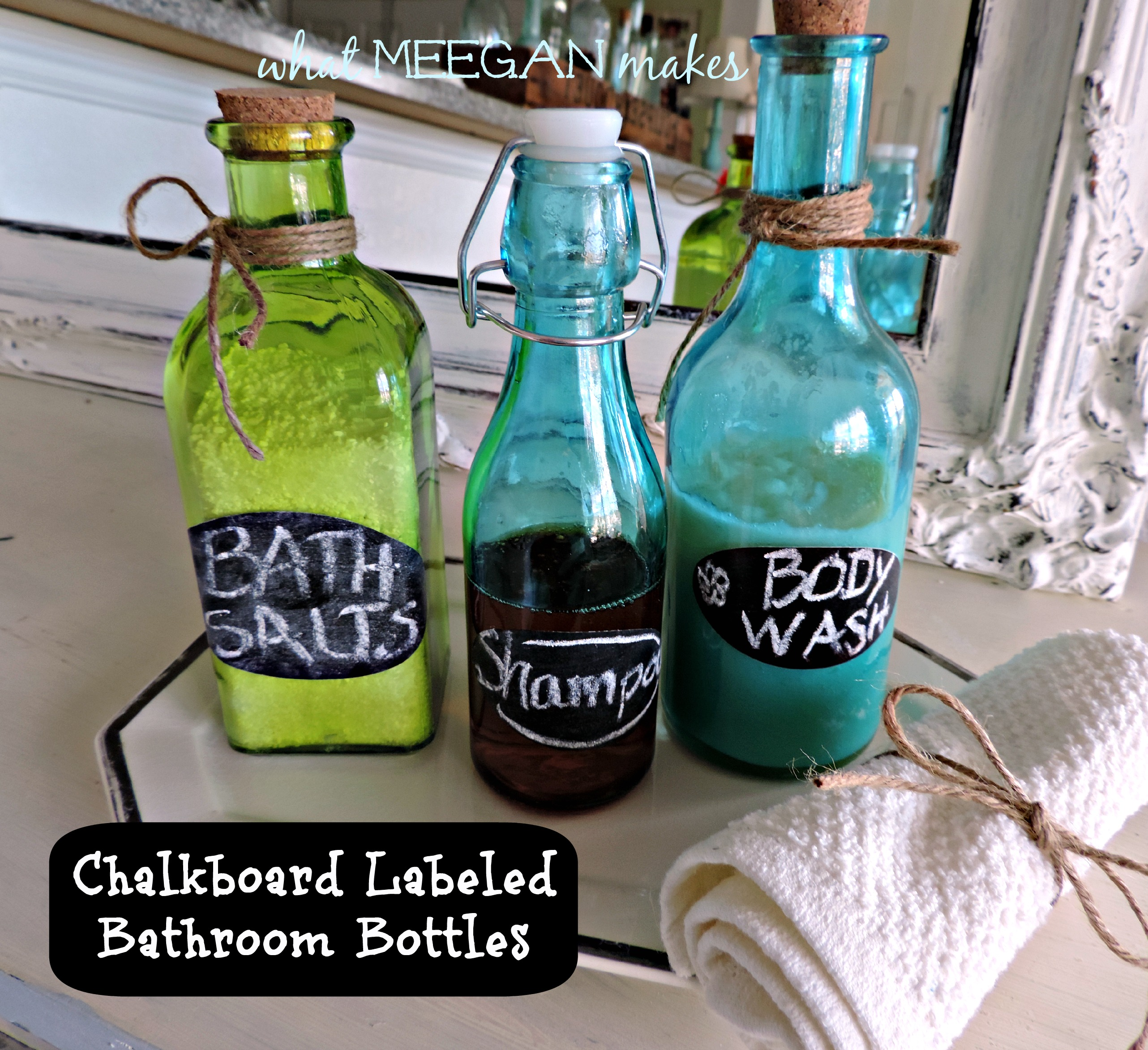 Chalkboard Labeled Bathroom Bottles