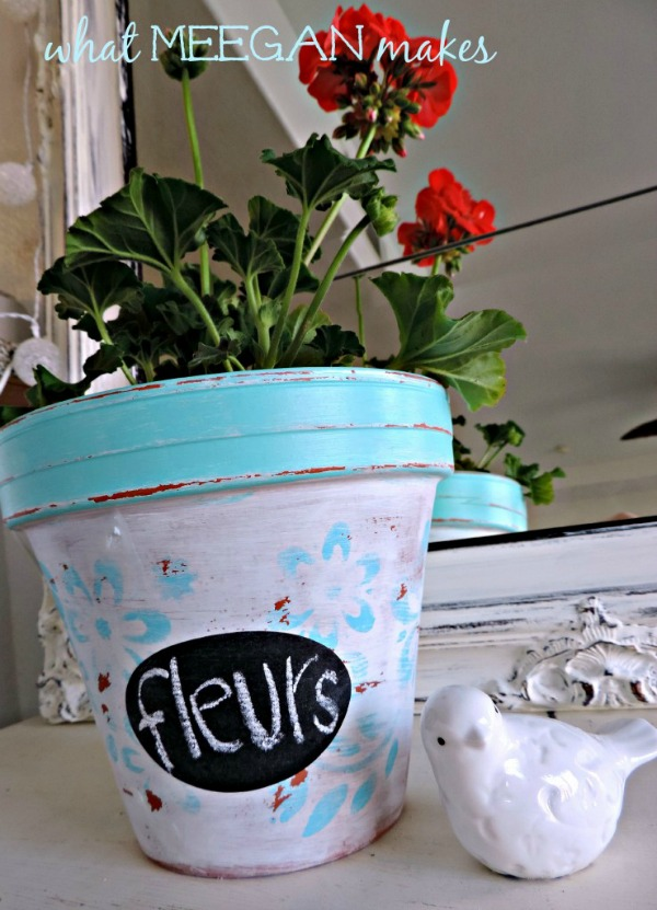 DIY Painted and Stenciled Terracotta Pot