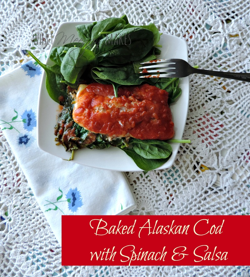 Baked Alaskan Cod with Spinach & Salsa