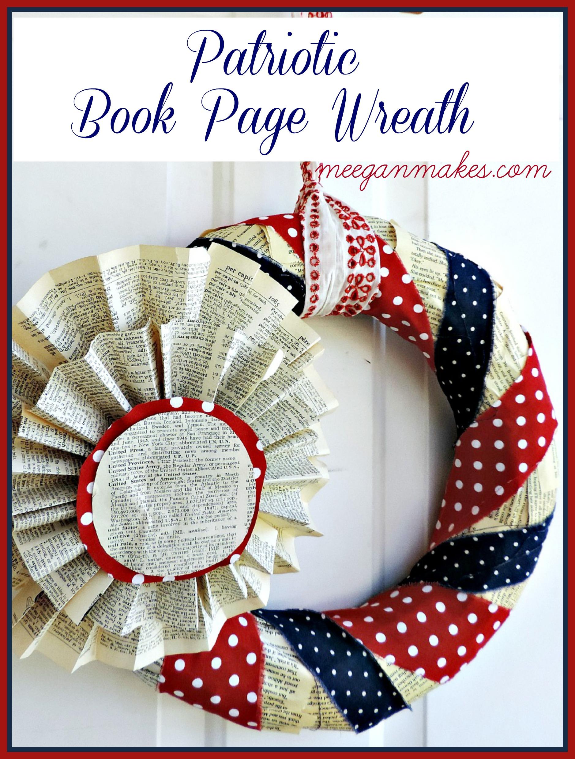 Patriotic Book Page Wreath