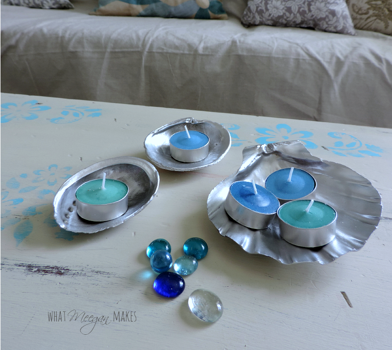 Silver Shells with Marbles and Candles