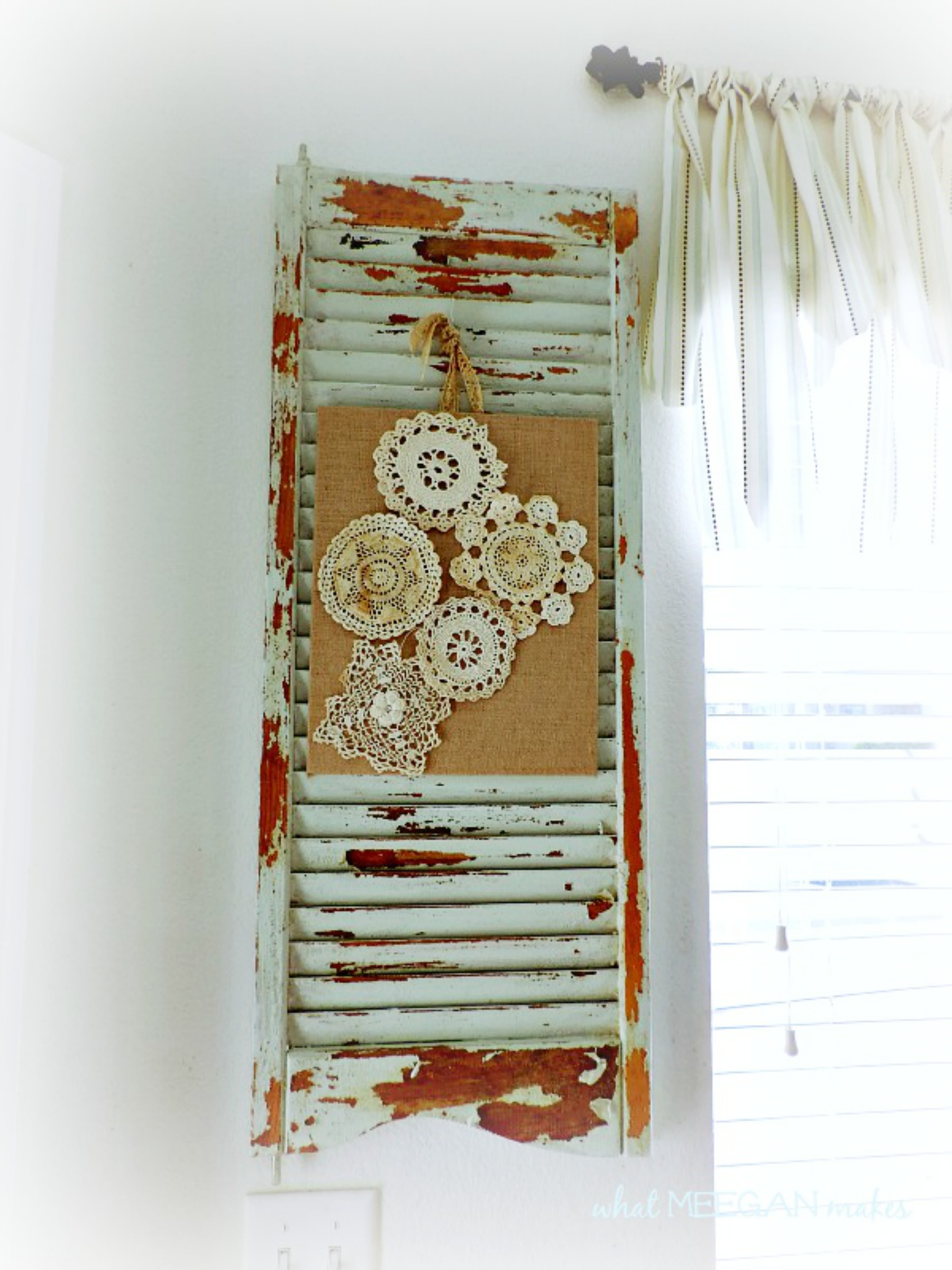 Vintage Doilies On Burlap Canvas
