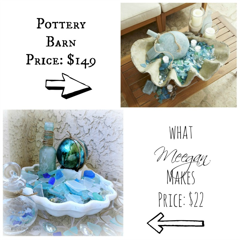 Sea Glass Filled Shell-Pottery Barn Knock-off