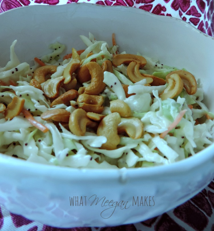 Summer Cole Slaw with Poppy Seed Dressing & Cashews