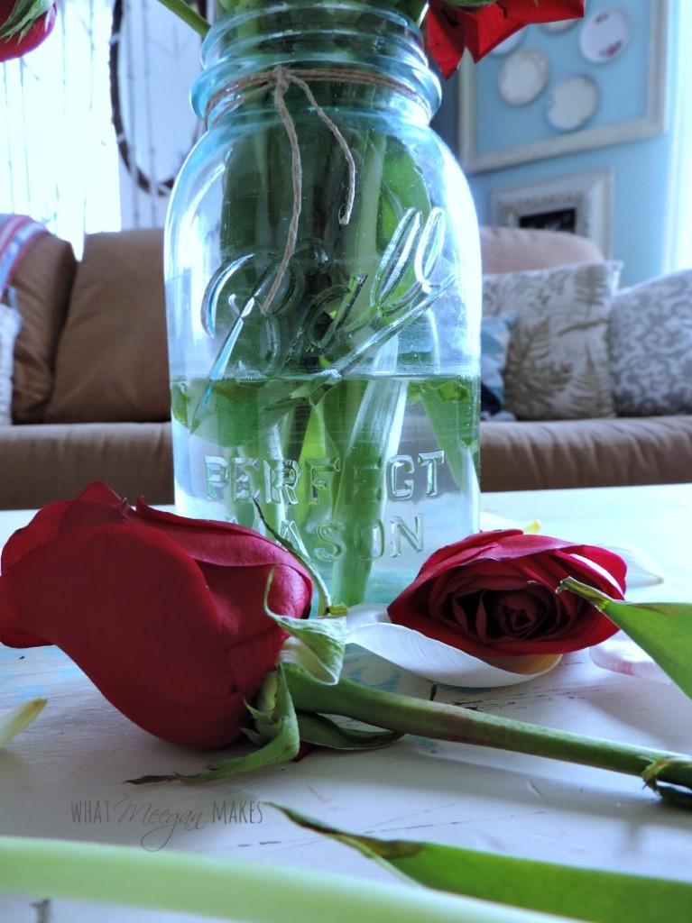 Vintage Mason Jar and Birthday Flowers