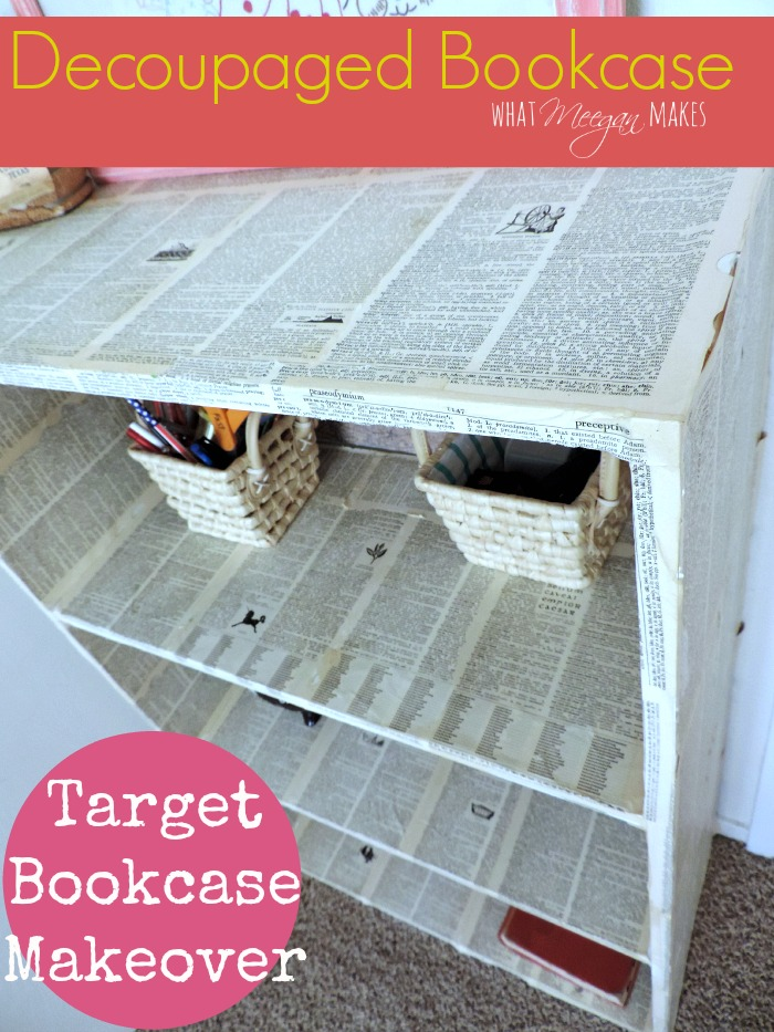 Decoupaged Bookcase Makeover