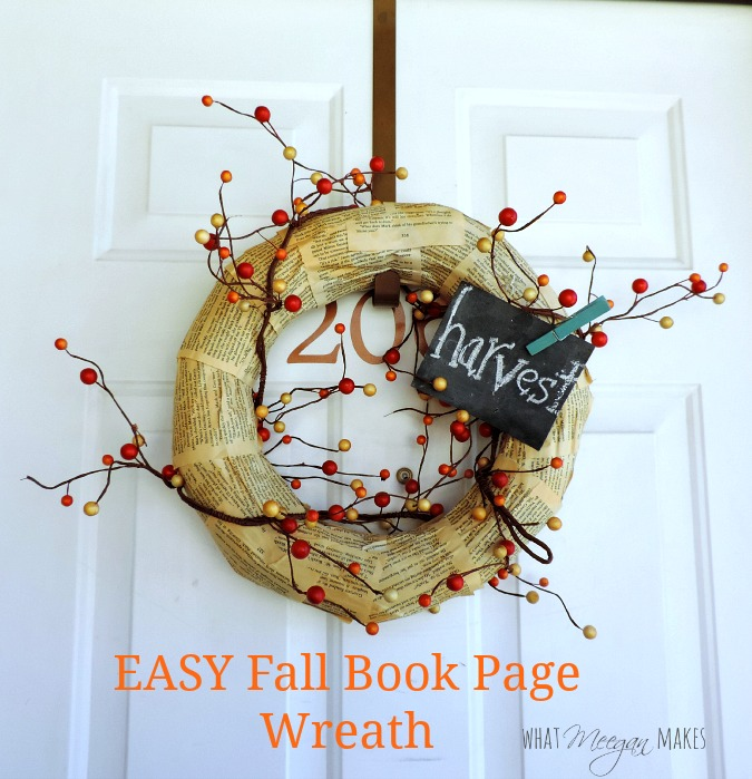 Easy Fall Book Page Wreath