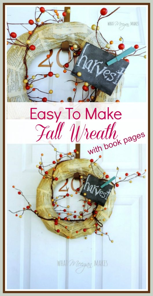 Easy To Make Fall Wreath with Book Pages