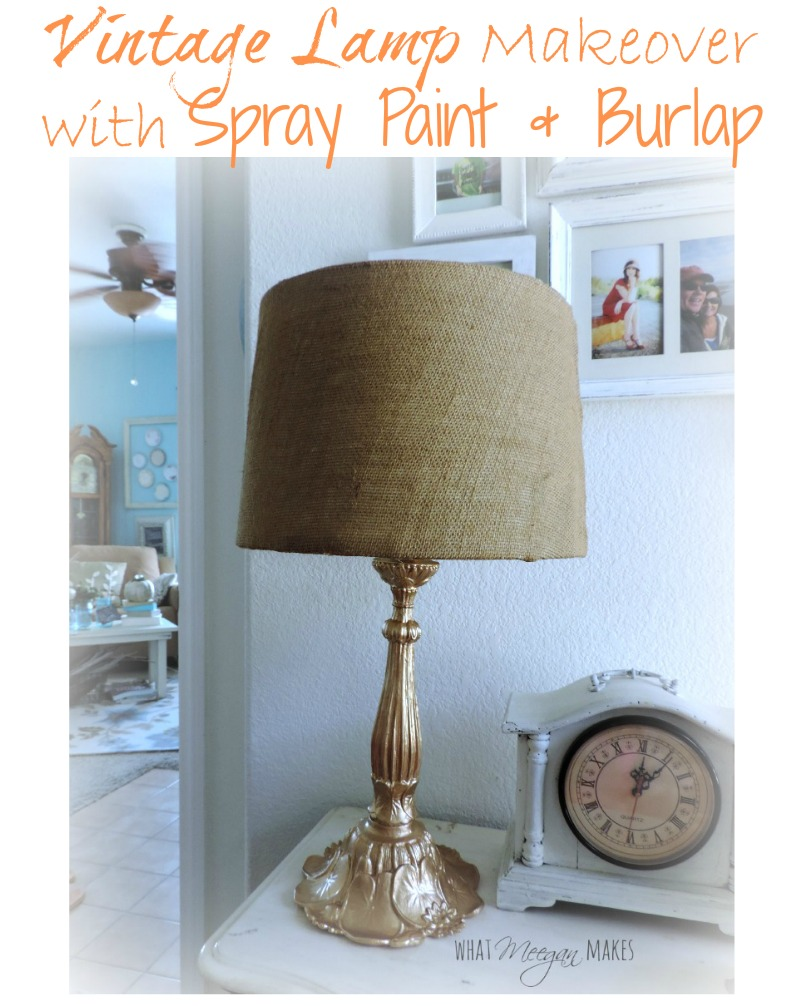 Vintage Lamp Makeover with Spray Paint & Burlap