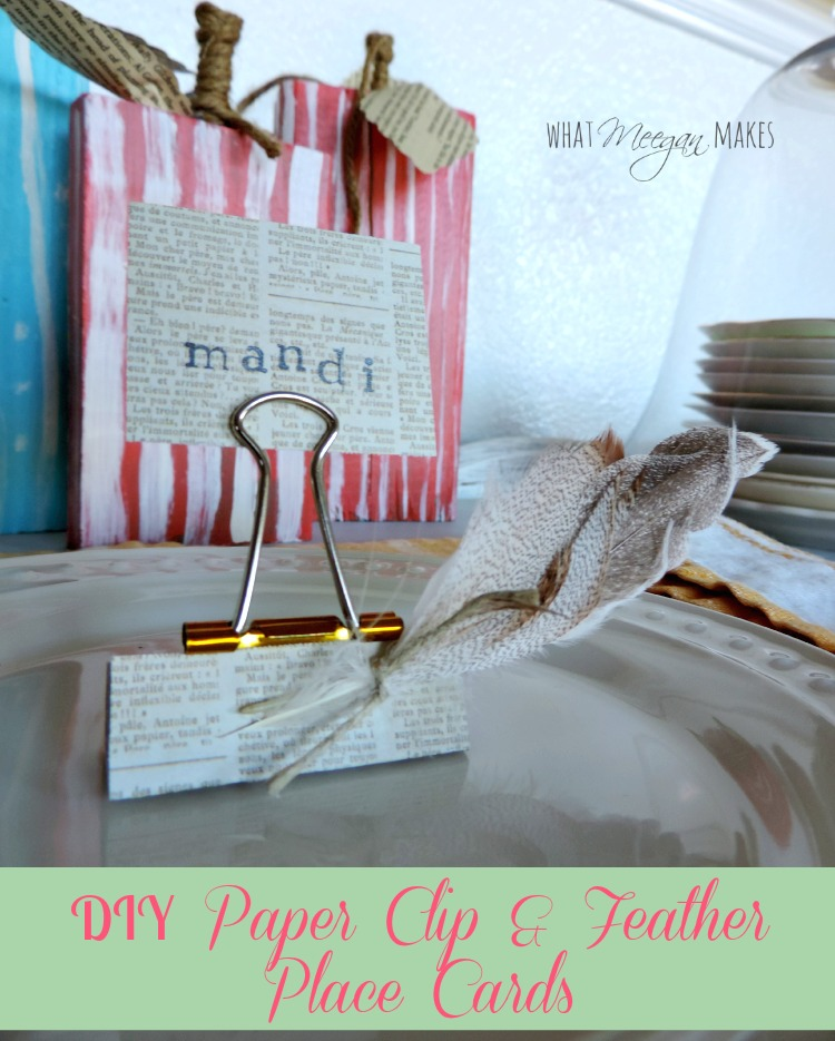DIY Paper Clip & Feather Place Cards