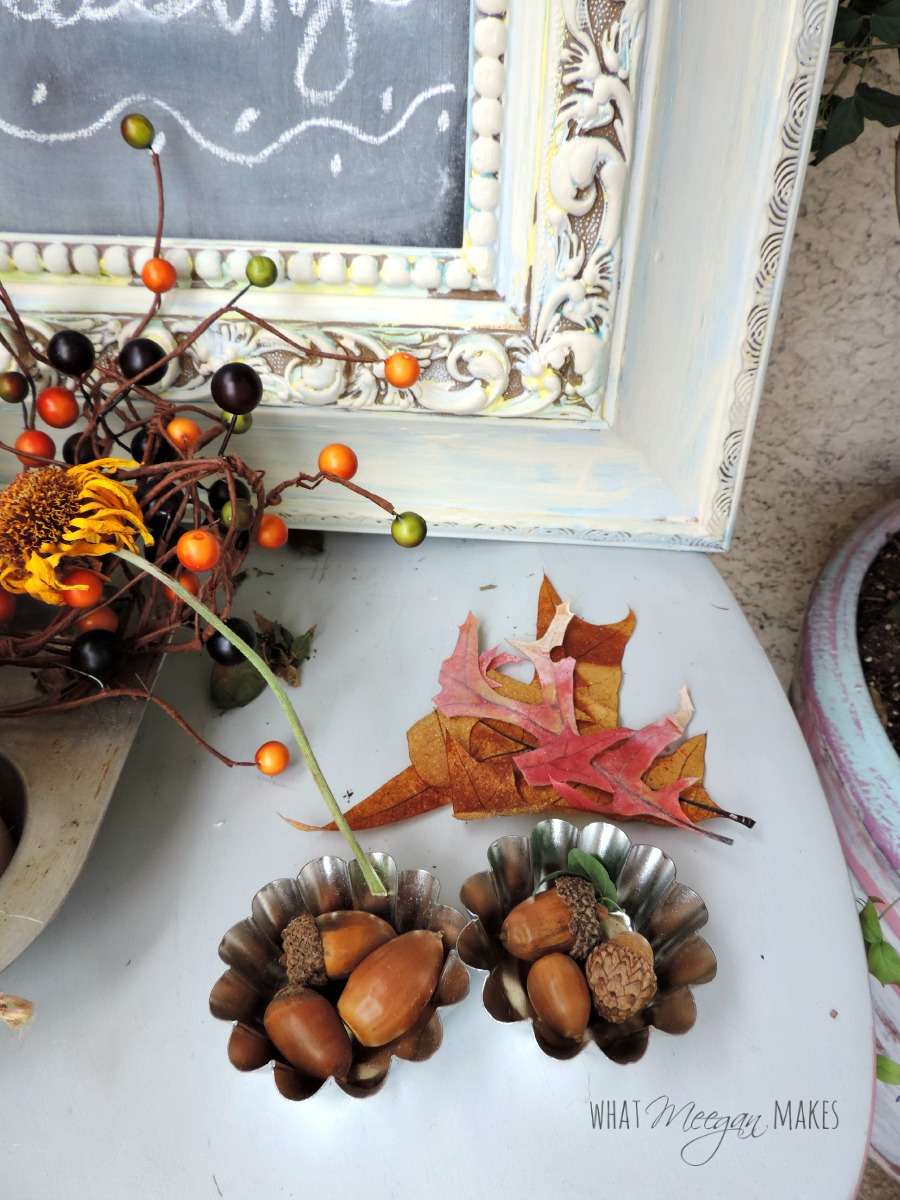 Porch Fall Tart Pans Filled with Acorns