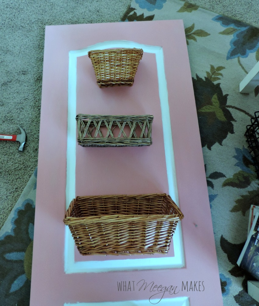 thrifted door and baskets