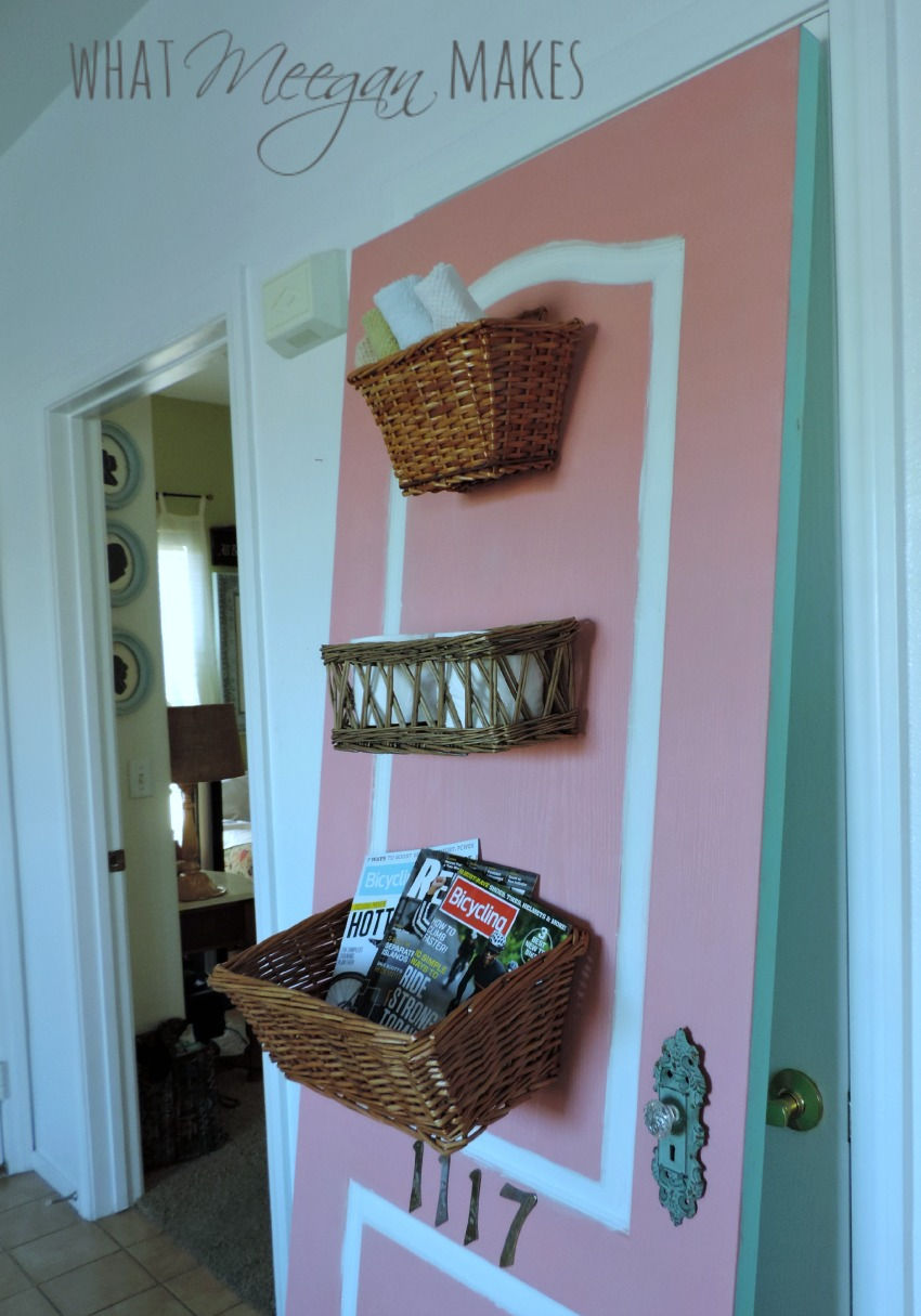 thrifted door with baskets