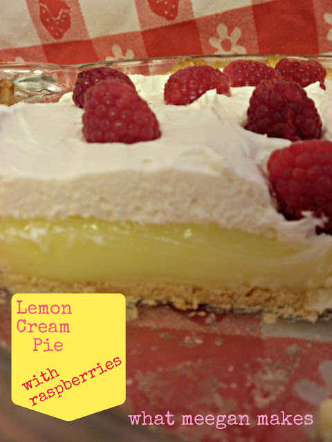 Lemon Cream Pie with Raspberries
