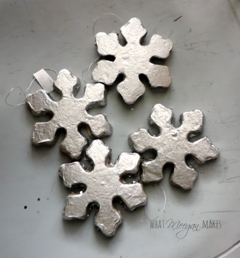snowflake painted silver