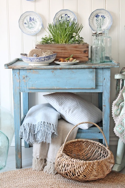Chippy Blue Night Stand