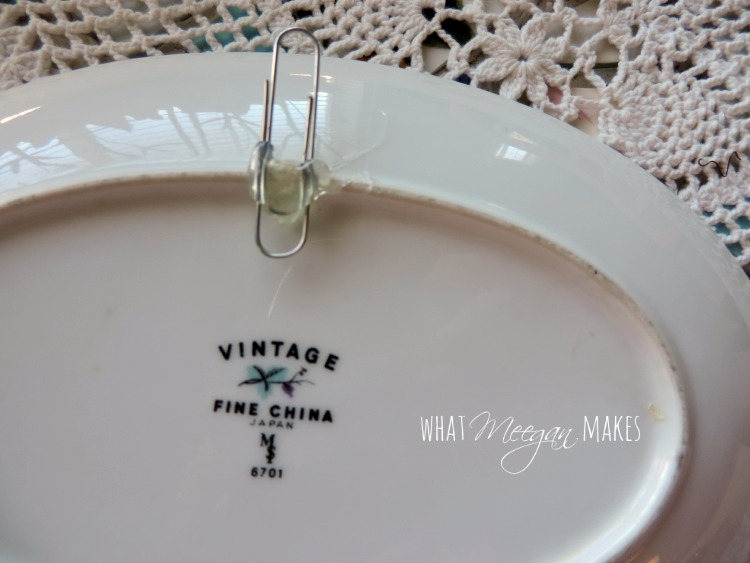 Hang a Plate with Hot Glue and Paper Clips