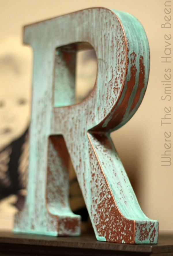 IMFeatureDIY-Faux-Copper-Letter-aged-with-Blue-Patina-Mantel2