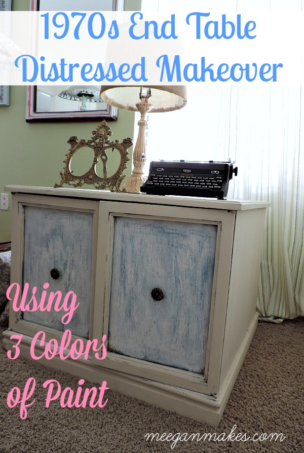 1970s End Table Distressed Makeover